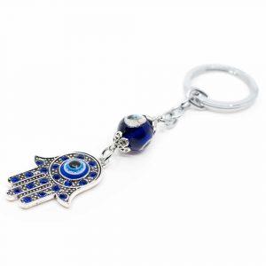 Schlüsselanhänger Beschützer Hamsa Hand Blau
