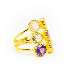 """Goldenes Dreieck Edelstein Ring 925 Silber Vergoldet """"Energize"""""""