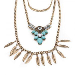 Boho Halskette mit blauen Steinen und Federn