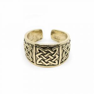 Verstellbarer Wikinger-Ring Keltischer Knoten Goldfarben