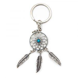Schlüsselanhänger Boho Traumfänger mit blauem Stein