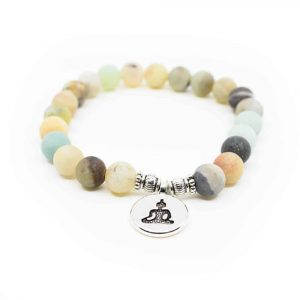 Edelstein Armband Amazonit Mala elastisch mit Buddha