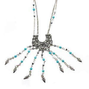 Boho Halskette Blumenmuster und Speerspitzen