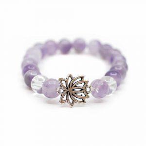Edelstein Armband Amethyst/Bergkristall mit Lotus