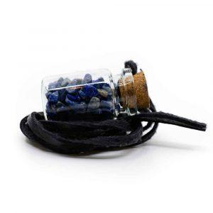 Geschenkflasche an Wachsband mit Lapis Lazuli