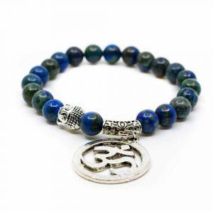 Edelstein Armband Azurit OM Buddha
