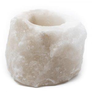 Salzstein Teelichthalter Weiß (400 - 700 Gramm) ca. 9 x 9 x 10 cm