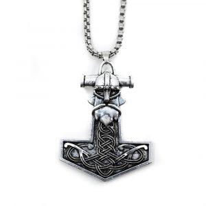 Talisman Wikinger Thors Hammer mit Wikingerkopf