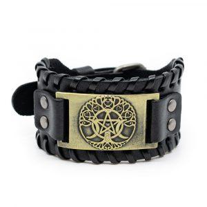 Wikinger Armband Norwegischer Lebensbaum und Pentagramm Kunstleder Verstellbar