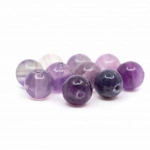 Edelstein Lose Perlen Fluorit - 10 Stück (8 mm)