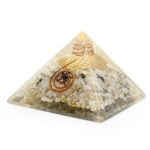 Orgonit-Pyramide Regenbogen-Mondstein mit Blume des Lebens (70 mm)