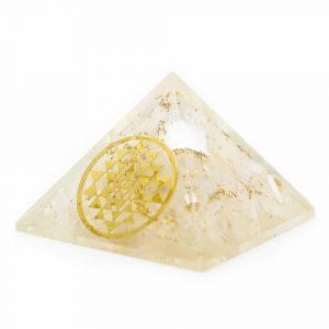 Orgonit-Pyramide - Selenit mit Sri Yantra (40 mm)