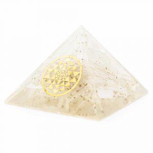 Orgonit-Pyramide - Selenit mit Sri Yantra (70 mm)