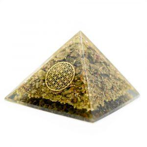Orgonit-Pyramide mit Epidot - Blume des Lebens (70 mm)