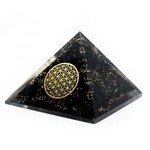 Orgon Pyramide aus schwarzem Turmalin mit Blume des Lebens (40 mm)