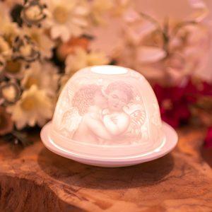 Stimmungslicht Porzellan Engel Kuss