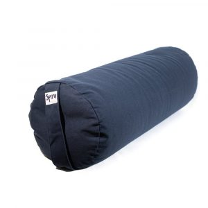 Yoga Bolster Blau Rund Baumwolle - einfarbig - 59 x 21,5 cm