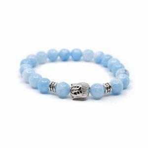 Edelstein Armband Blauer Achat mit Buddha