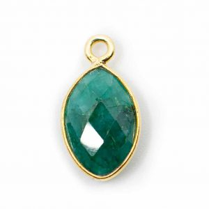 Geburtsstein-Anhänger Mai Smaragd 925 Silber Vergoldet (12 mm)