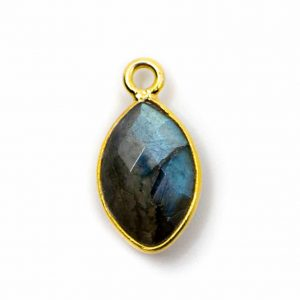 Edelstein-Anhänger Labradorit 925 Silber Vergoldet (12 mm)