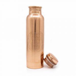 Spiru Kupfer Wasserflasche Blume des Lebens geätzt - 900 ml