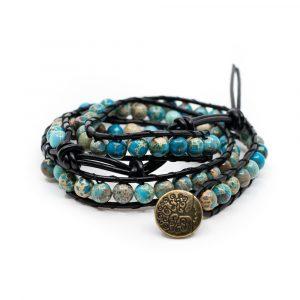Edelstein Armband blauer Achat Wickelarmband mit Lebensbaum