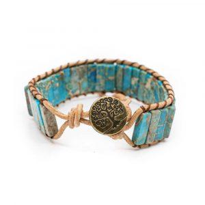 Edelstein Armband Boho Blau mit Lebensbaum