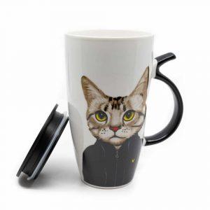 Tasse Schwarze Katze mit Schwanzhenkel - 400ml
