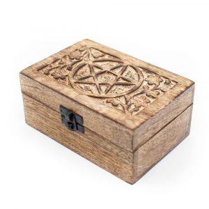 Aufbewahrungsbox Haltbares Holz-Pentagramm Handgefertigt (15 cm)