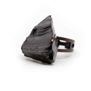Elite Schungit Edelstein Ring Kupfer Verstellbar