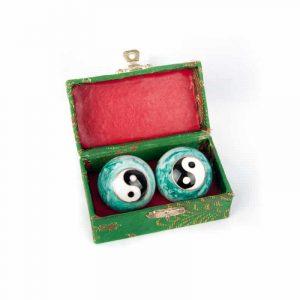 Qigongkugeln - Yin Yang (weiß-grün)