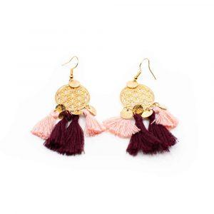 Boho Blume des Lebens Traumfänger Ohrringe - Pink