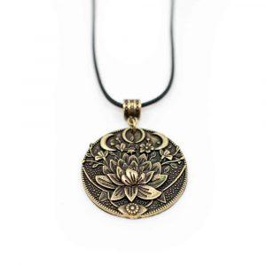 Tibetischer Anhänger Lotus & Mond - Golden