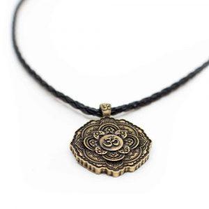 Tibetischer OM-Anhänger Schwarze Halskette - Goldfarben