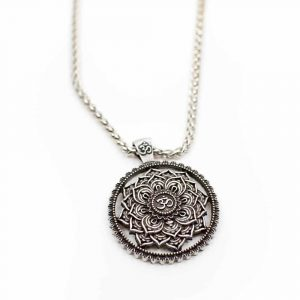 Tibetische Mandala OM-Halskette - Silberfarben