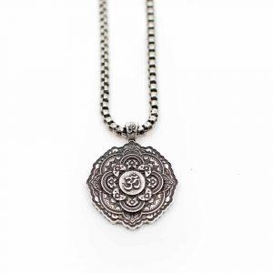 Tibetischer OM-Anhänger Metall-Halskette - Silberfarben