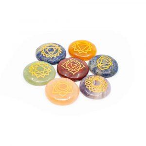 7 Chakra-Edelsteine mit Goldsymbolen