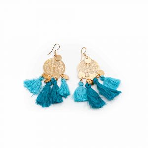 Boho Blume des Lebens Traumfänger-Ohrringe - Blau