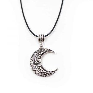 OM-Mond Halskette tibetisch - Silberfarben
