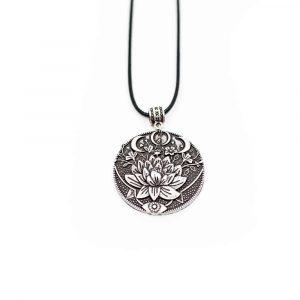 Tibetischer Anhänger Lotus & Mond - Silbern