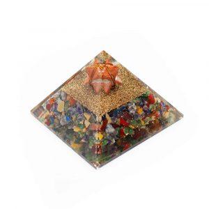 Orgon Pyramiden Chakra/Jaspis mit Jaspis Merkaba (70 mm)