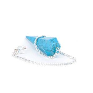 Pendel Edelstein Howlith Facette Blau