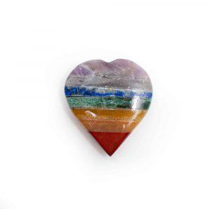Herzförmiger Taschenstein 7 Chakren