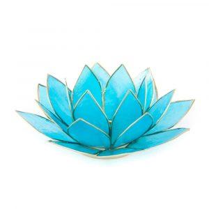 Lotus Atmosphärisches Licht Hellblau 5. Chakra Goldrand