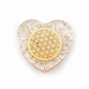 Orgonitherz Bergkristall  mit Blume des Lebens aus Kupfer