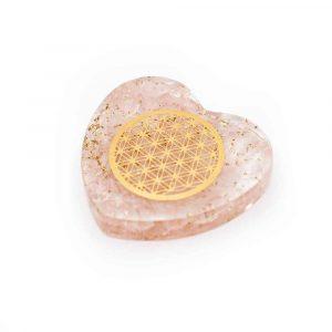 Orgonit-Herz Rosenquarz mit Blume des Lebens aus Kupfer