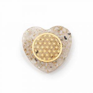 Orgonitherz Mondstein mit Blume des Lebens aus Kupfer