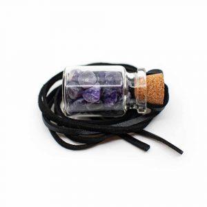 Geschenkflasche an Wachsband mit Amethyst