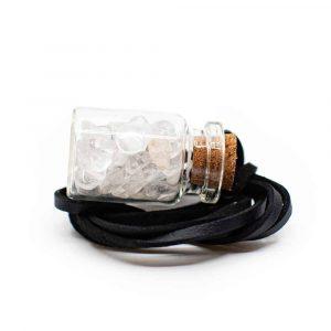 Geschenkflasche an Wachsband Bergkristall