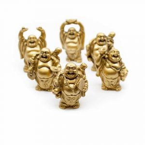 Glücks-Buddha Mini-Statuen Stehend Polyresin Gold - Satz von 6 - ca. 7,5 cm
